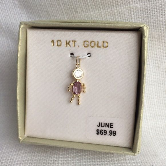 """NWT 10K Gold June Birthstone Pendant Brand new in box. Pendant measures about .75"""" long. Pendant to put on your own chain necklace or bracelet. Retail $69.99. Price firm. Pendant only, does Not come with a chain. Jewelry"""