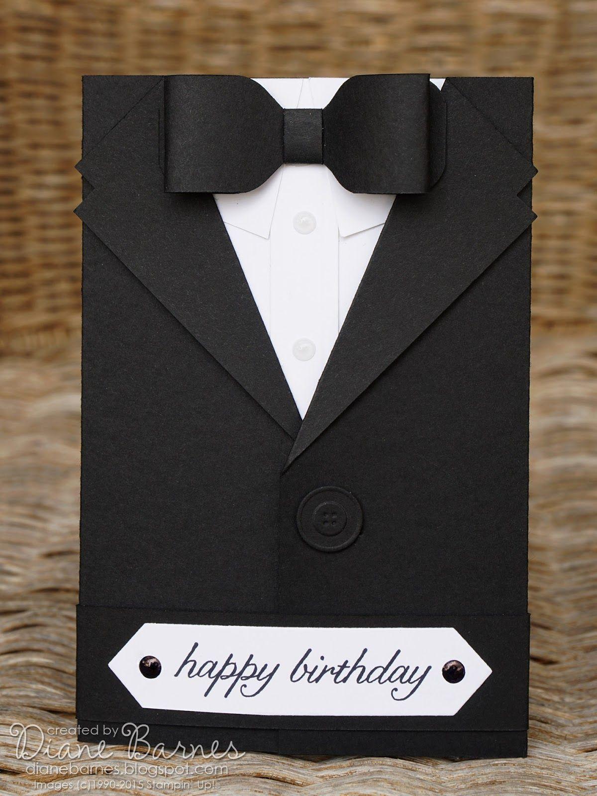 handmade card ... tuxedo pocket card ... open ... the shirt piece ...