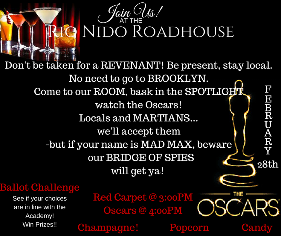 Take the challenge, pick the winners at the RNR Oscar Party!