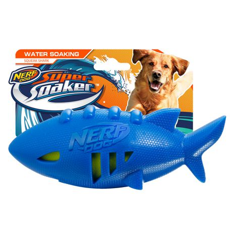 Nerf Dog Water Soaking Square Shark Football Toy Blue 7in