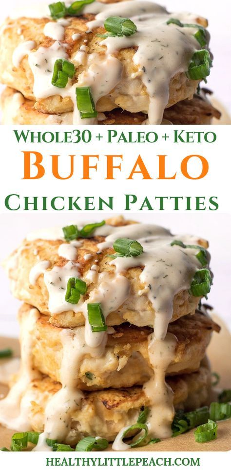 Photo of Buffalo Chicken Patties With Spicy Ranch (Whole30, Keto, Paleo) – Healthy Little Peach