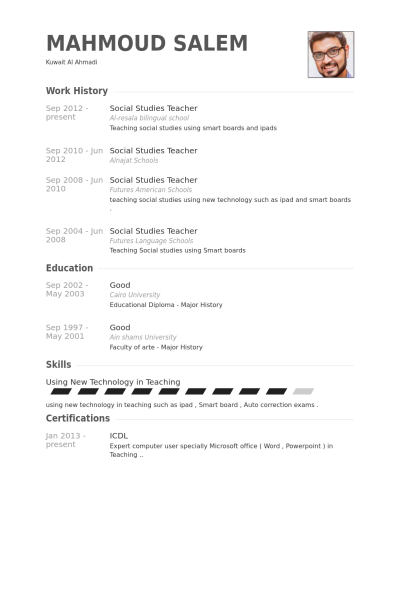 Visualcv Social Studies Teacher Resume Samples Visualcv Resume Samples 8096c0d8 Resumesample Resumefo Teacher Resume Examples Teacher Resume Education Resume