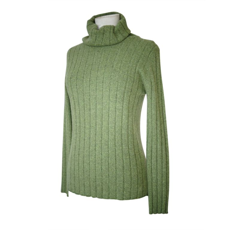 CHANEL 97A sweater top cashmere divine heathered green 42  8 | From a collection of rare vintage sweaters at https://www.1stdibs.com/fashion/clothing/sweaters/