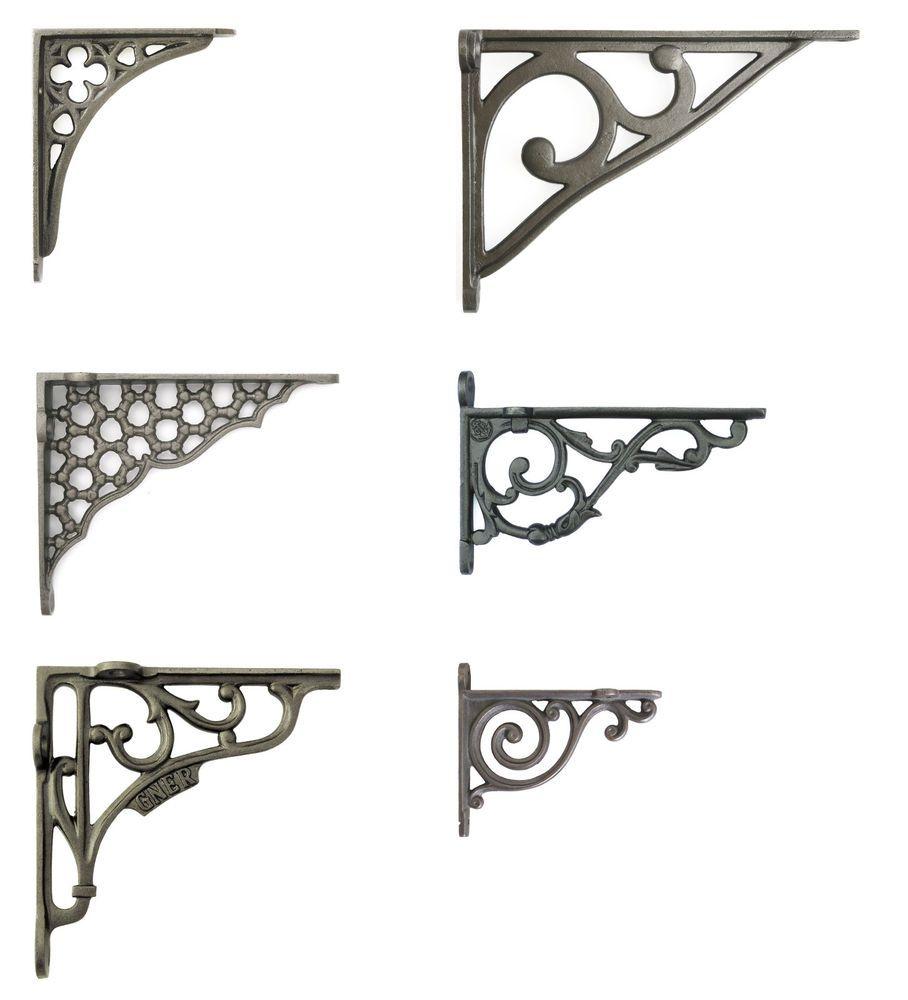 "2 SMALL WHITE ANTIQUE-STYLE 4/"" CAST IRON SHELF BRACKETS garden rustic SCROLL"