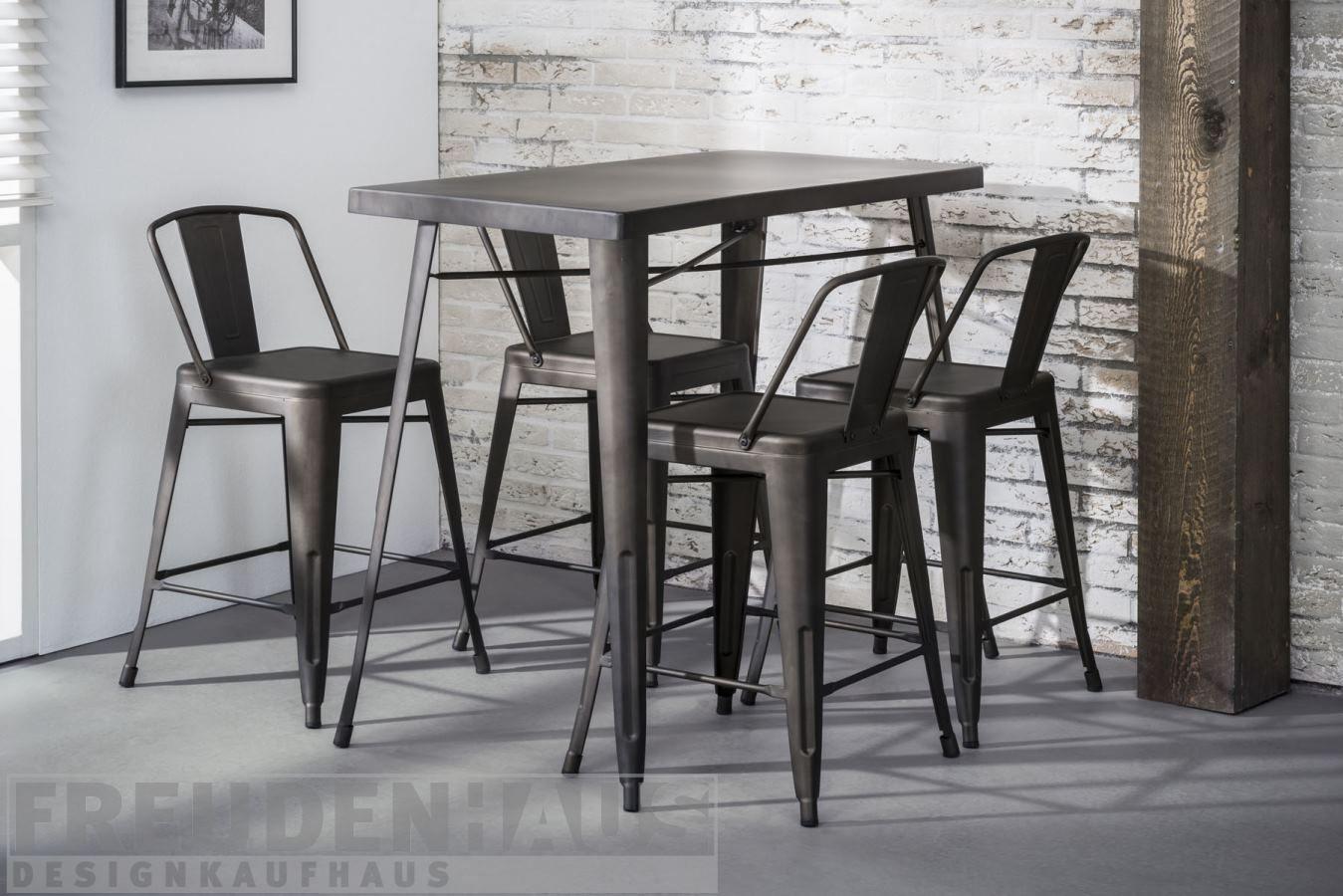 stehtisch bartisch set bistro metall industrial 120 x 60 4 barhocker k chenbars bartisch. Black Bedroom Furniture Sets. Home Design Ideas