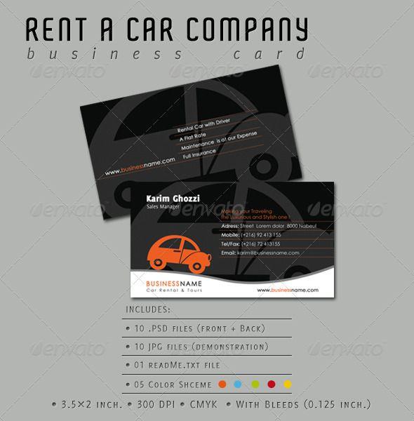 Rent A Car Company Business Card Company Business Cards Business Card Photoshop Colorful Business Card