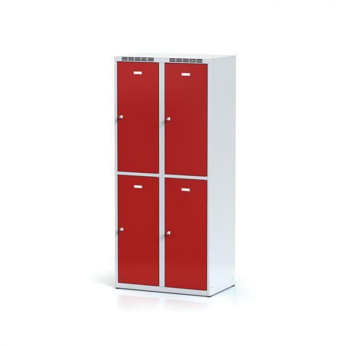 Wardrobe, 4 boxes, red door, cylinder lock