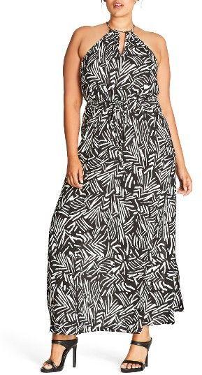 plus size women's city chic halter maxi dress | plus size dresses