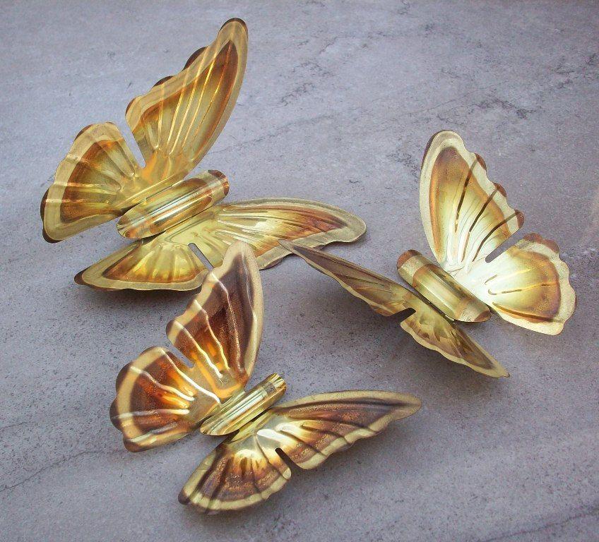 Brass Butterfly 3D Wall Art  Set of 3 by nenafayesattic on Etsy, $15.00