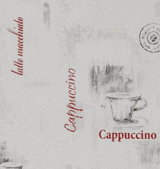 Vliestapete grau mit Kaffeeschriftzügen #lattemacchiato