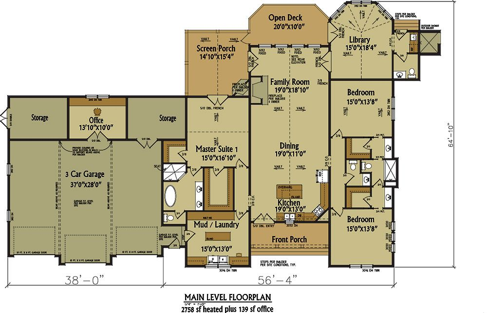 One story rustic house plan design house plans for Single story floor plans with 3 car garage