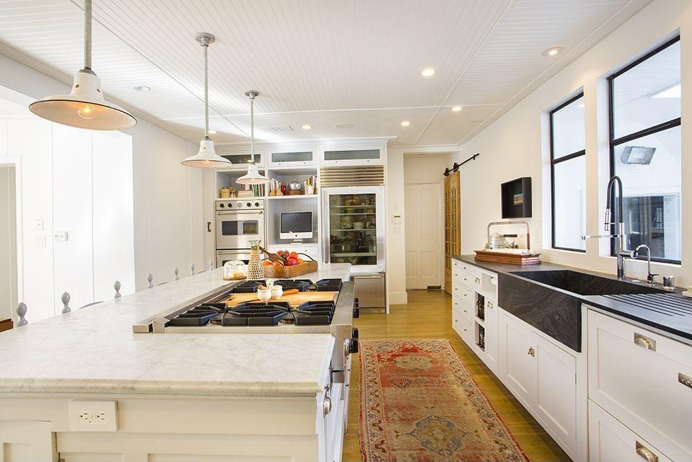 Modern Kitchen with Allen + roth sugarbrush quartz ...