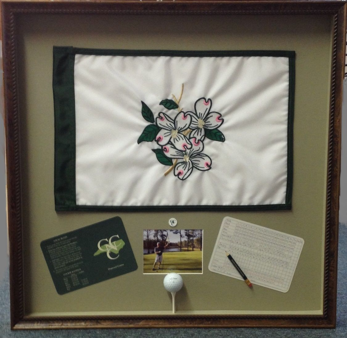 Custom Hole In One Shadowbox This Frame Includes The Flag