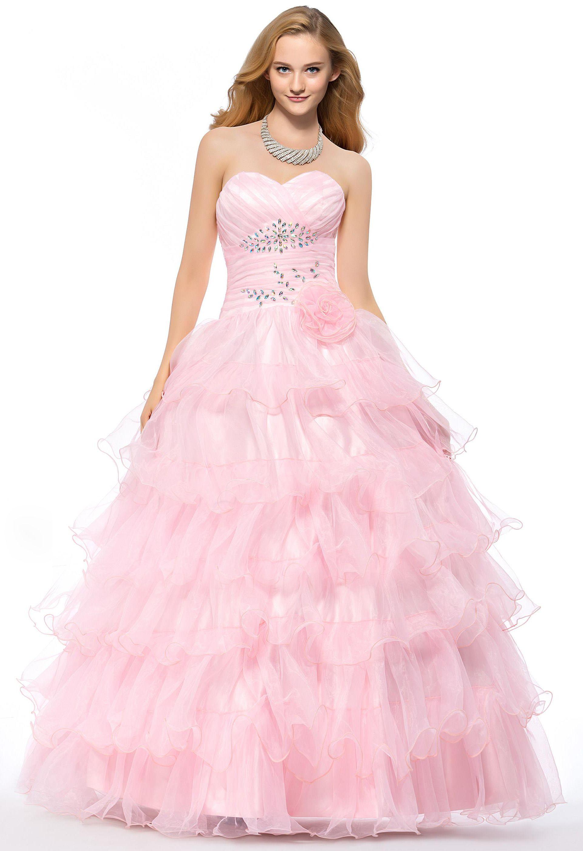 A Line Sweetheart Neckline Floor Length Organza Quinceanera Dress ...