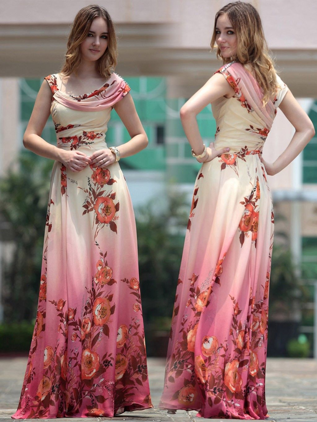 c68f847f137 Elegant Floral Silk Maxi Gown - Buy Pepper Dresses Online in India ...
