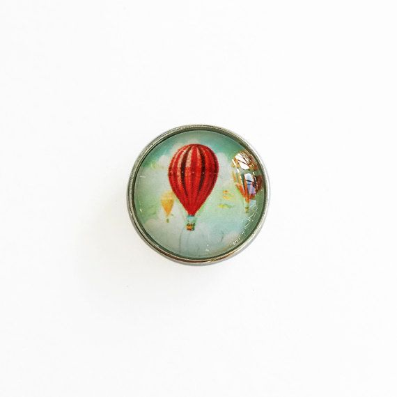 Red Hot Air Balloon Snap Button Charm for Snap Accessories