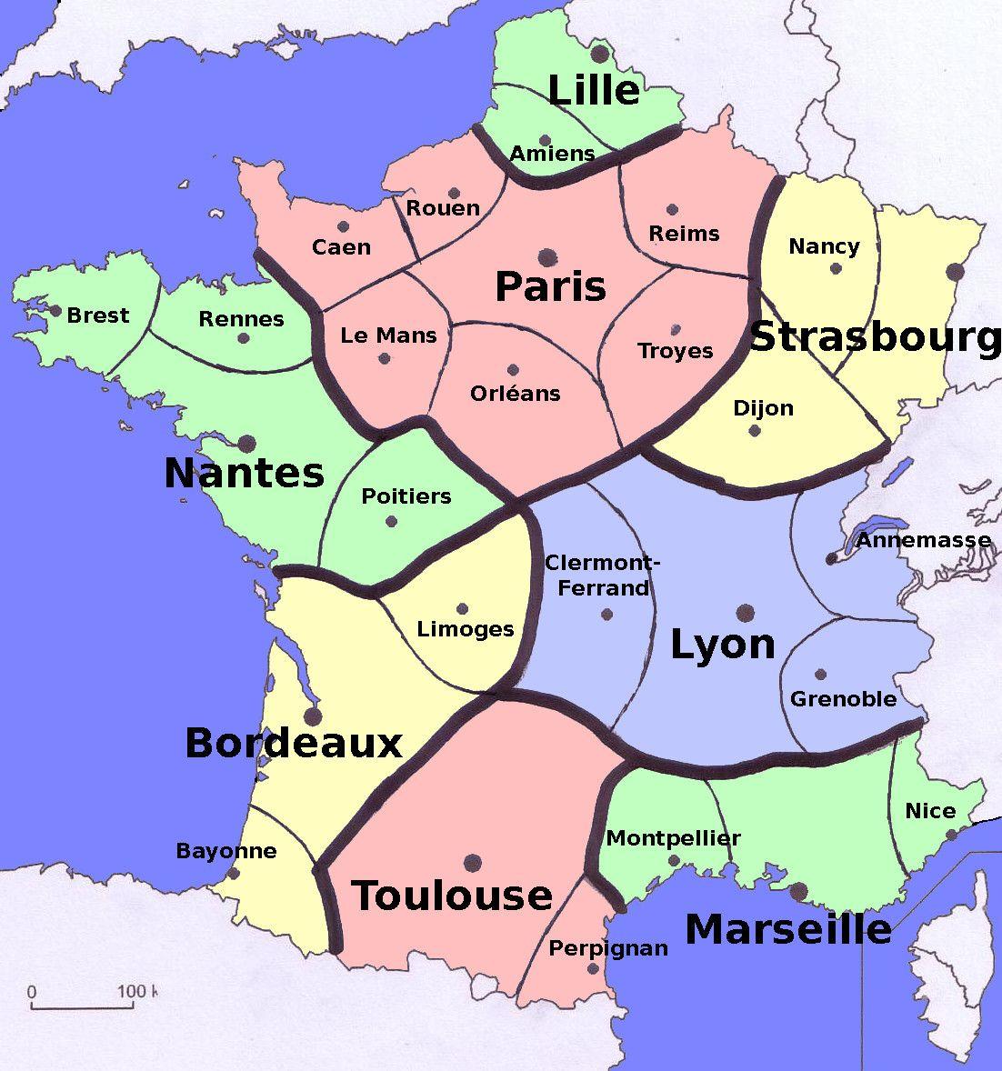 Carte de France découpée en 8 zones Habita, Uñas francesas