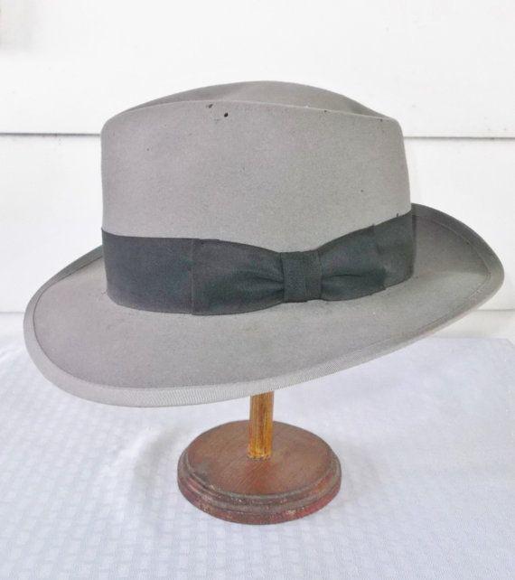 1950s Vintage Gray Fur Felt Fedora Hat Richman by MyVintageHatShop
