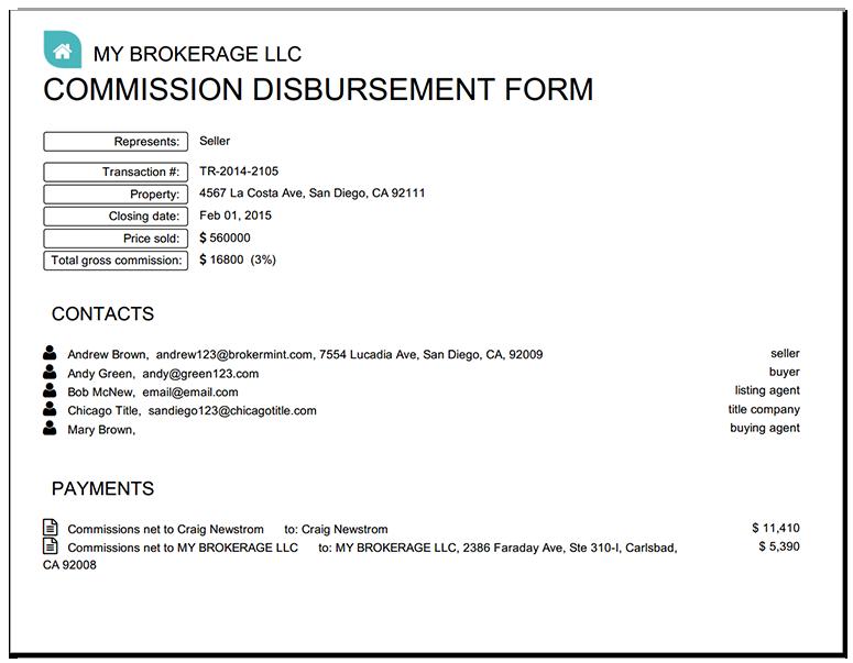 Brokermint Real Estate Disbursement Form Statement Template Invoice Template Word Real Estate
