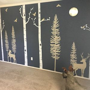 Forest Birch Tree Wall Decal with Deer Baby Nursery Wall Stickers Nursery Wall Decals Stickers W1121