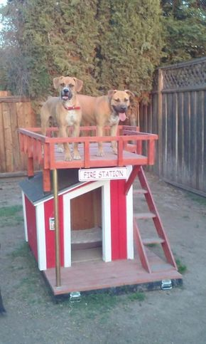 This Diyer Made His Rescued Dogs A Fire Station Themed Doghouse