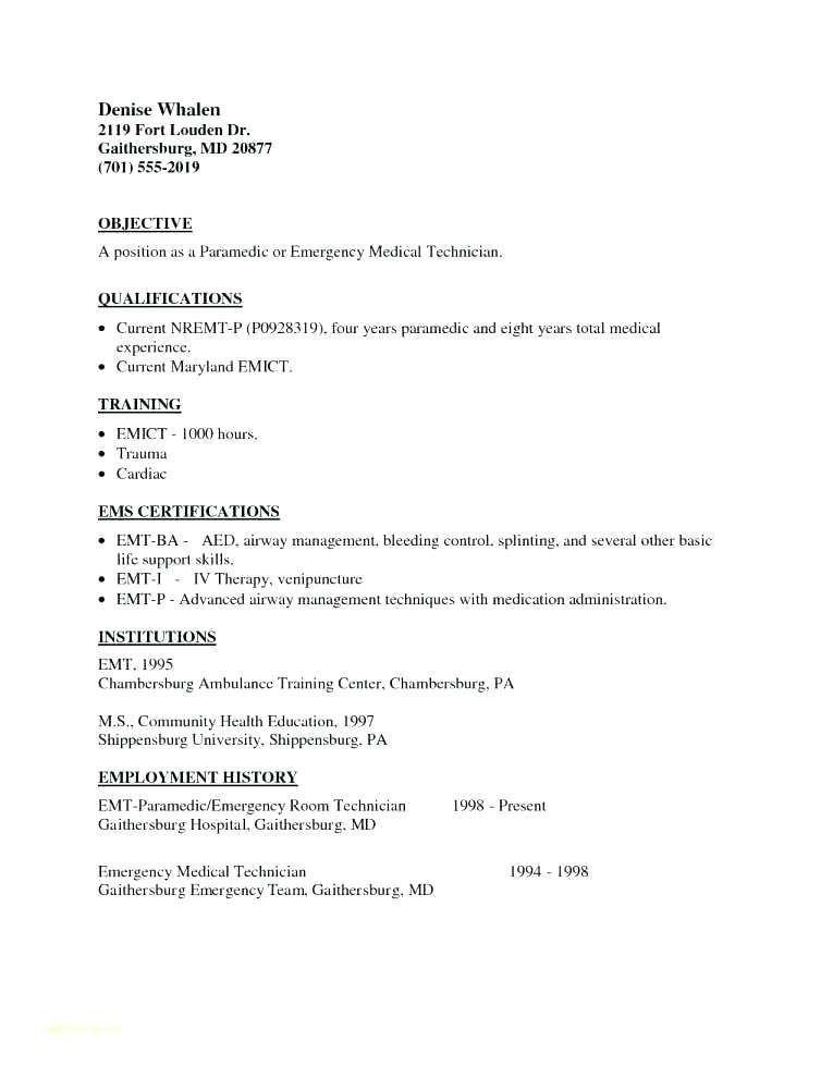 Emt b resume examples resumeexamples resume examples