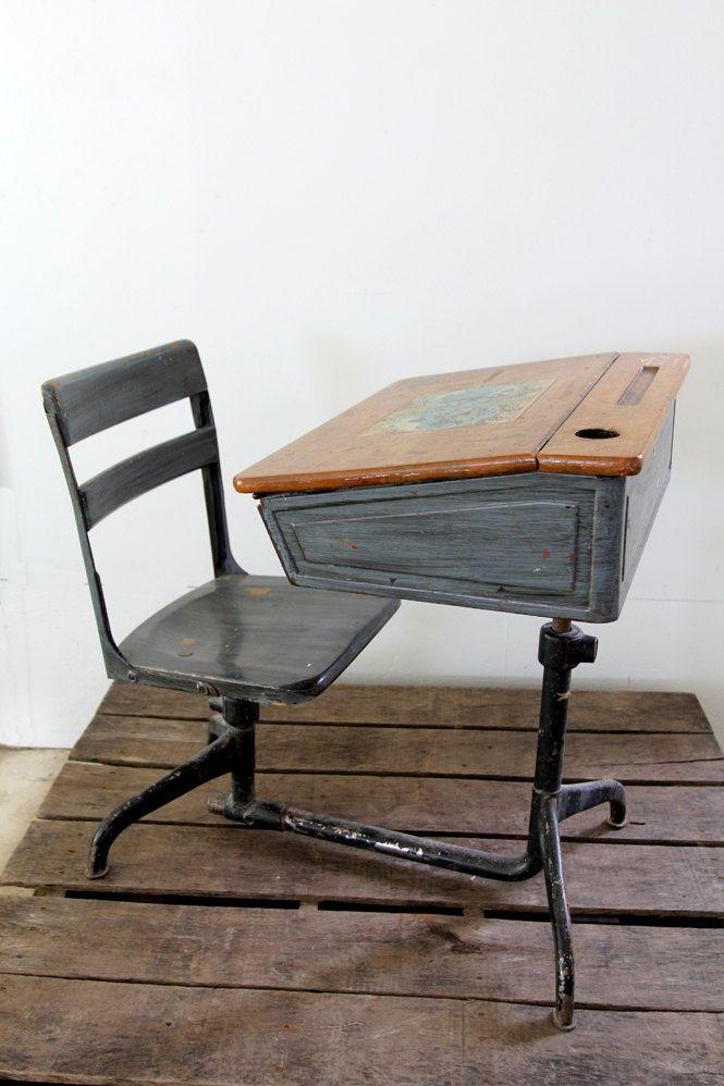 Vintage School Desk, Wooden School Desk And Chair