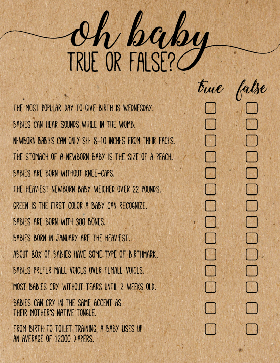 Baby Shower True Or False Game Oh Baby True Or False Baby Etsy Virtual Baby Shower Ideas Baby Shower Games Unique Virtual Baby Shower