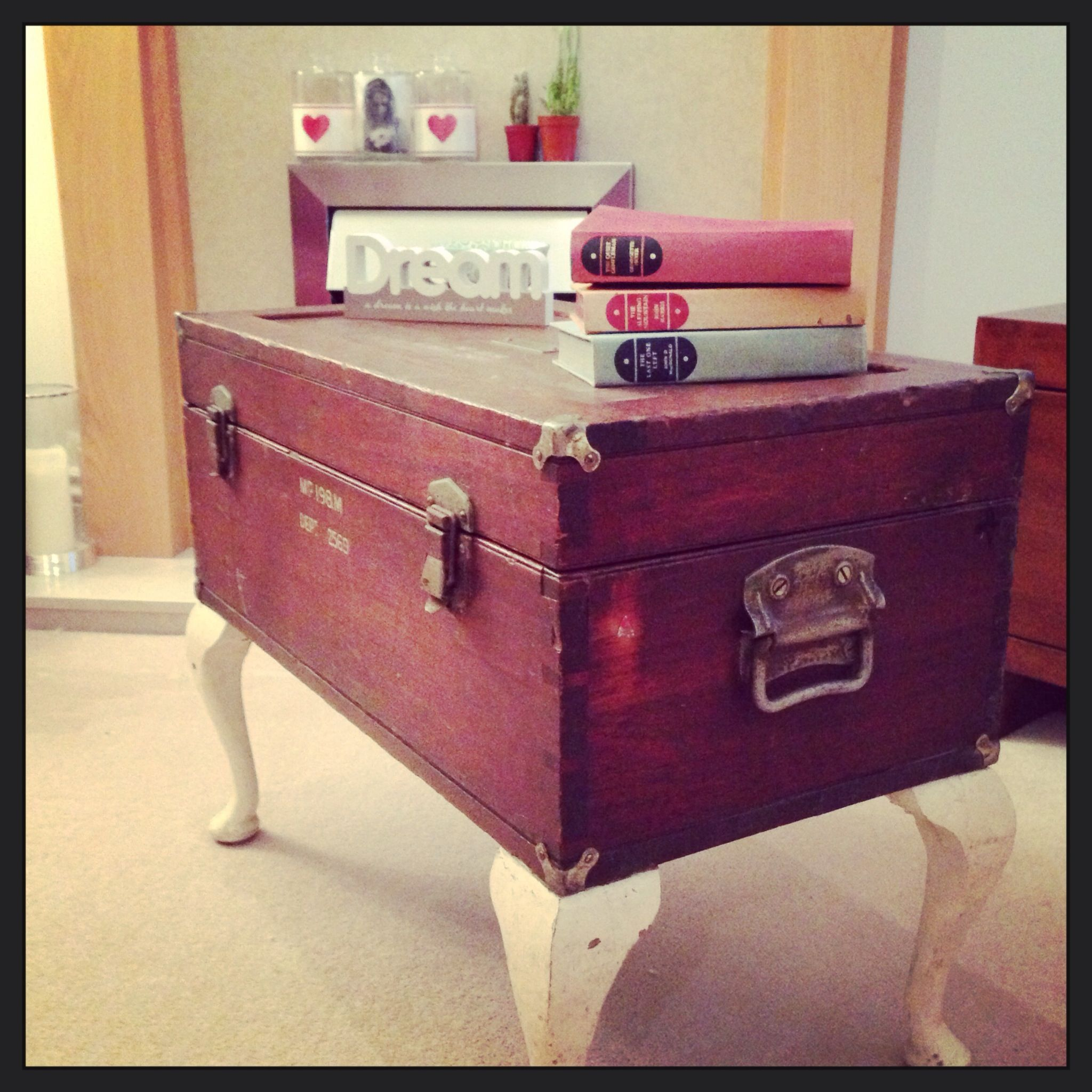 Upcycled vintage wooden trunk with salvaged cabriole legs coffee