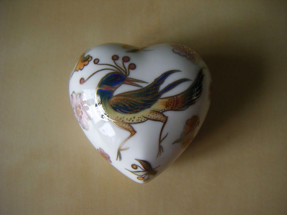 Zsolnay heart box with Phoenix bird | eBay