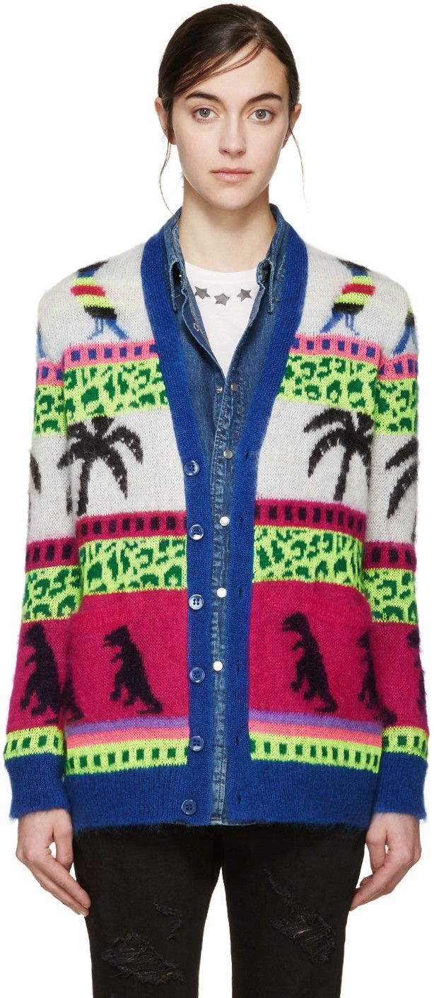 8669eea7631 Saint Laurent - Multicolor Mohair Palm Tree Cardigan | A Girl Can ...