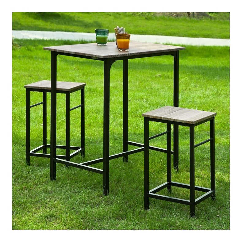Set De 1 Table 2 Tabourets Avec Repose Pieds Table Mange Debout