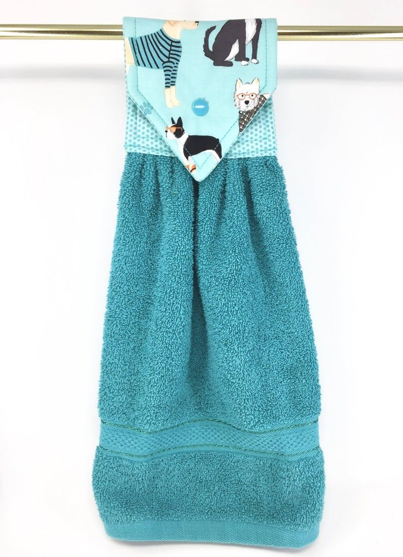 Dog Hanging Kitchen Towel, Dogs Hanging Hand Towel, Teal Kitchen Towel, Teal Hand Towel, Dog Hand Towel, Teal Oven Towel, Dogs Kitchen Towel