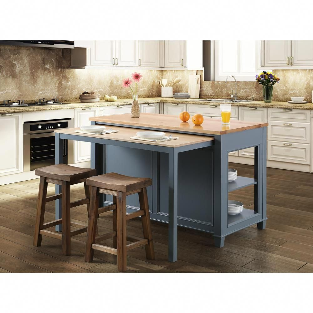 Design Element Medley Gray Kitchen Island With Slide Out Table Kd 01 Gy The Home Depot White Kitchen Island Kitchen Island With Seating Kitchen Island Table