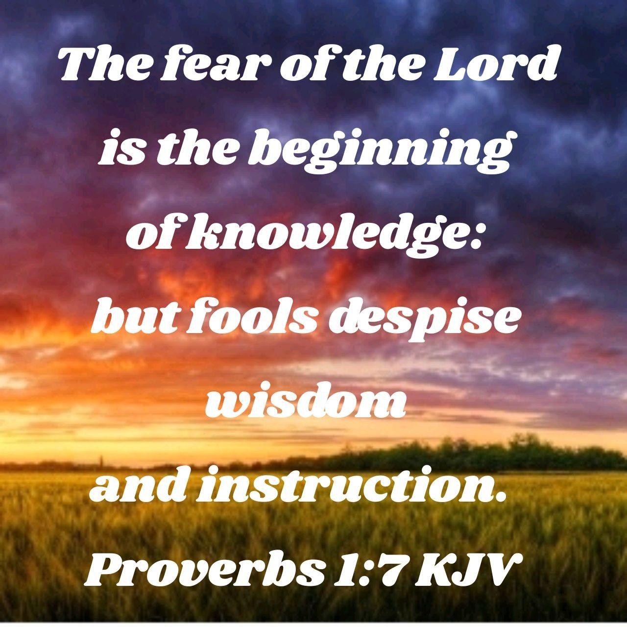 Proverbs 1:7 KJV   Faith verses, Fear of the lord, Proverbs 17 17