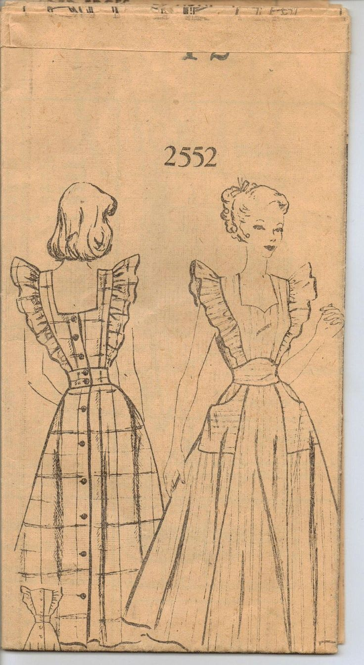pinafore apron pattern | 1940s Pinafore Apron Pattern 2552 from The ...