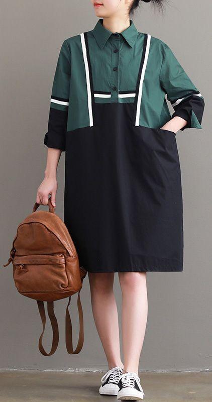 Women black patchwork green Cotton quilting clothes plus size Photography lapel tunic Dress#cottondress#blackdress#lapeldress