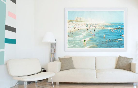 Oversized Art Large Wall Coney Island Beach Mid August A White Cloud Of Sand Is Taking Over The Beautiful Blue Skies And Warm