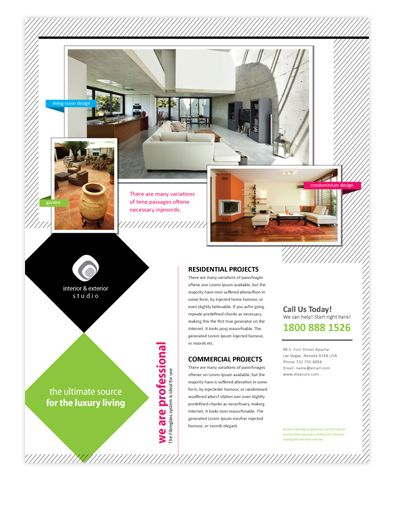 Interior \ exterior design company flyer template will be a good - interior design brochure template
