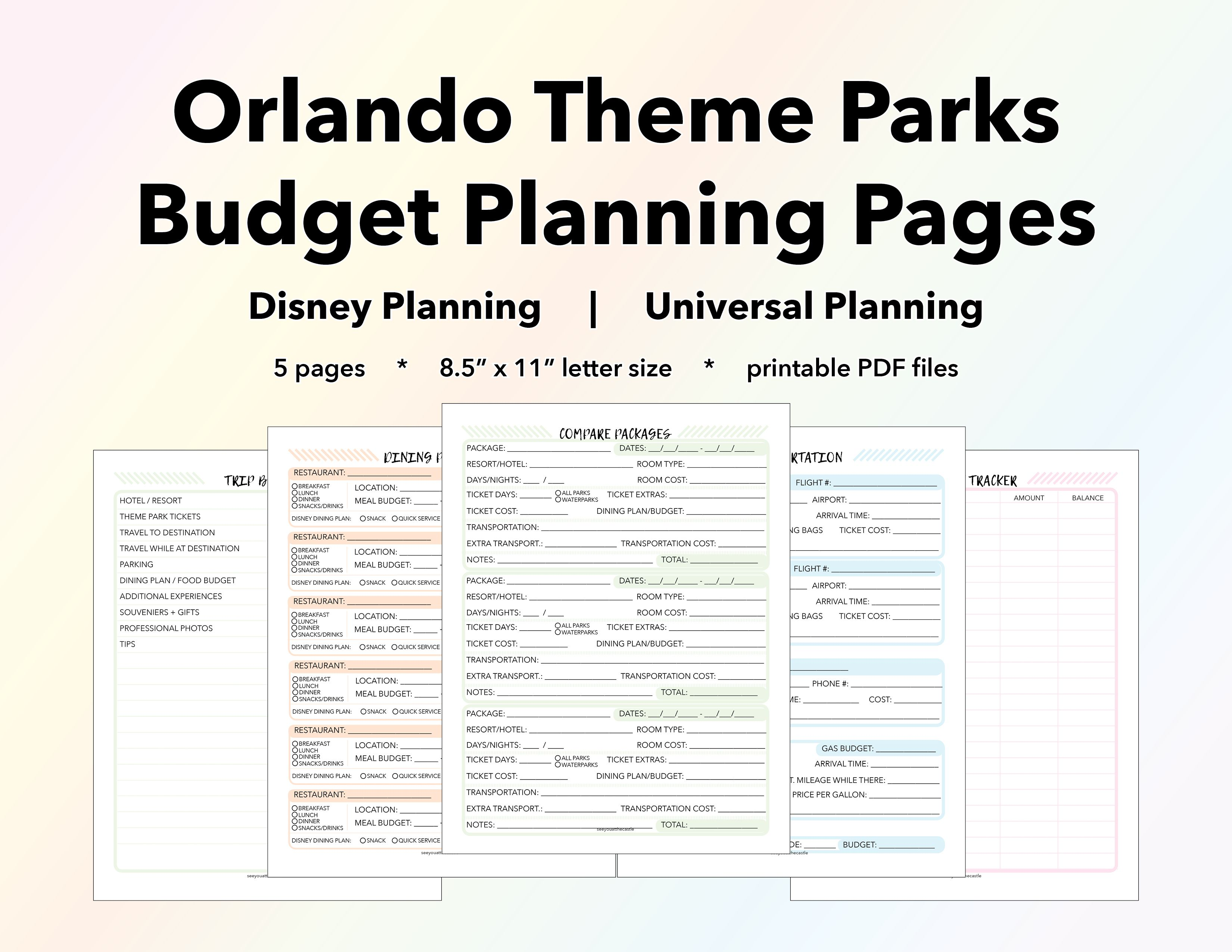 Orlando Theme Parks Budget Planning Pages Vacation