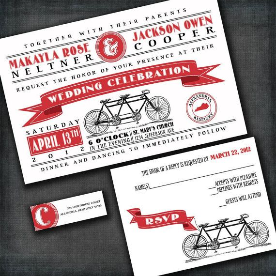 Tandem Bicycle Custom Wedding Invitation Suite With Rsvp Cards And