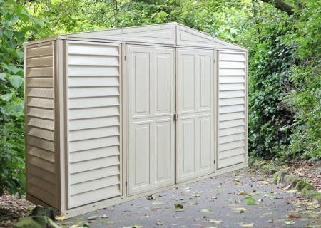Duramax 10x3 Woodbridge Sidepro Vinyl Shed W Foundation Kit 98001 Vinyl Sheds Shed Plans Vinyl Storage Sheds