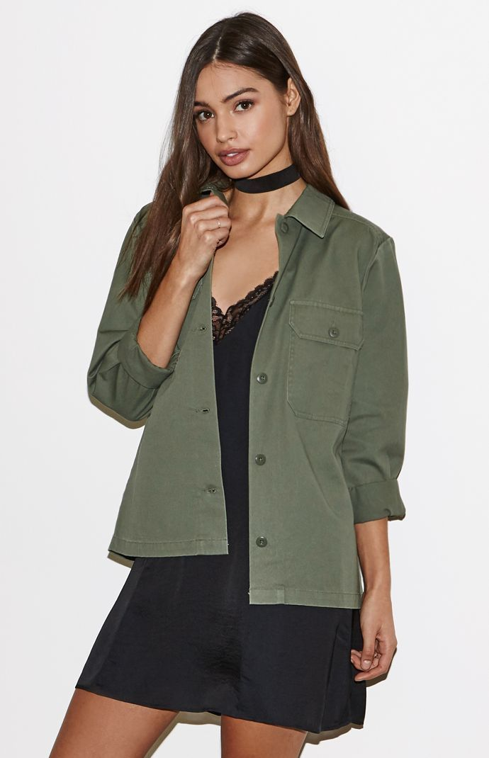 14661e685 Kendall & Kylie Long Military Jacket – Olive   Outerwear   Jackets ...