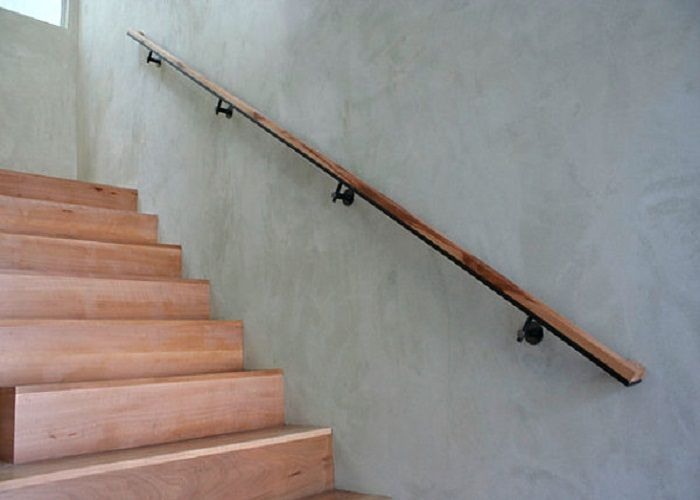 Modern Simple Sleek Wall Mounted Wooden Handrails Staircase | Modern Stair Hand Railing | Stainless Steel | Decorative | Creative Outdoor Stair | Glass | Solid Wood