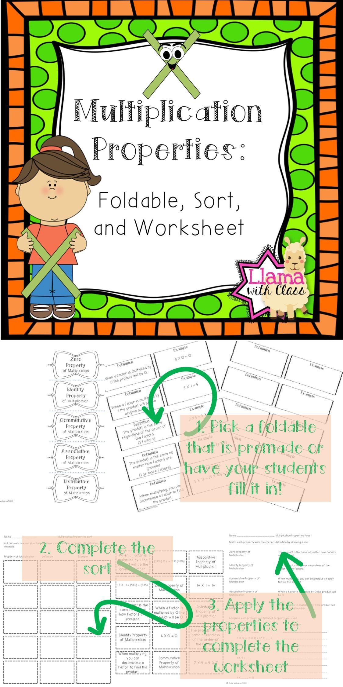 Multiplication Properties Organizer Sort And Worksheet