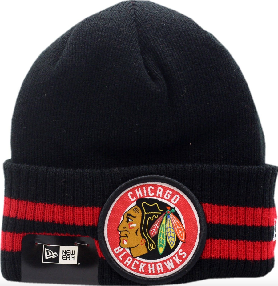 43eafee2083 Chicago Blackhawks Cuffed Knit Hat 2 Striped Remix By New Era