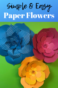 How to Make Large paper Flowers Tutorial + Free Template! #paperflowers #partydecor #diy #crafts #largepaperflowers