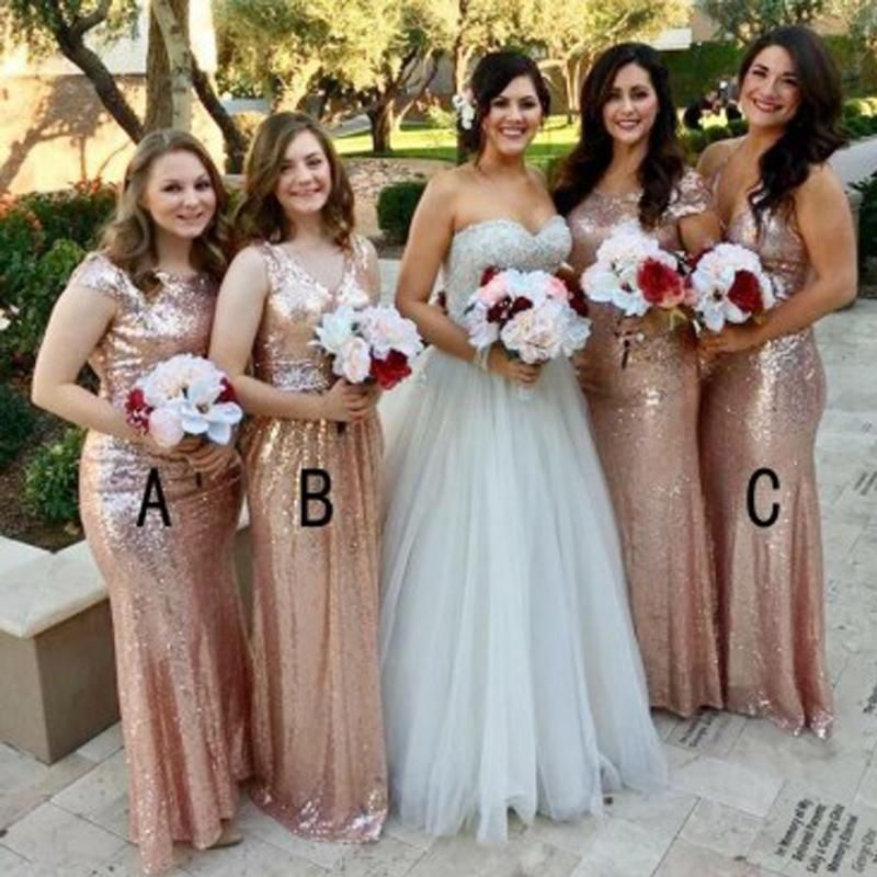 Mismatched Rose Gold Sequin Mermaid Long Cheap Bridesmaid