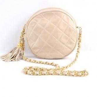 e5e83da6304b Vintage Chanel Round Tassel Chain Beige Shoulder Bag