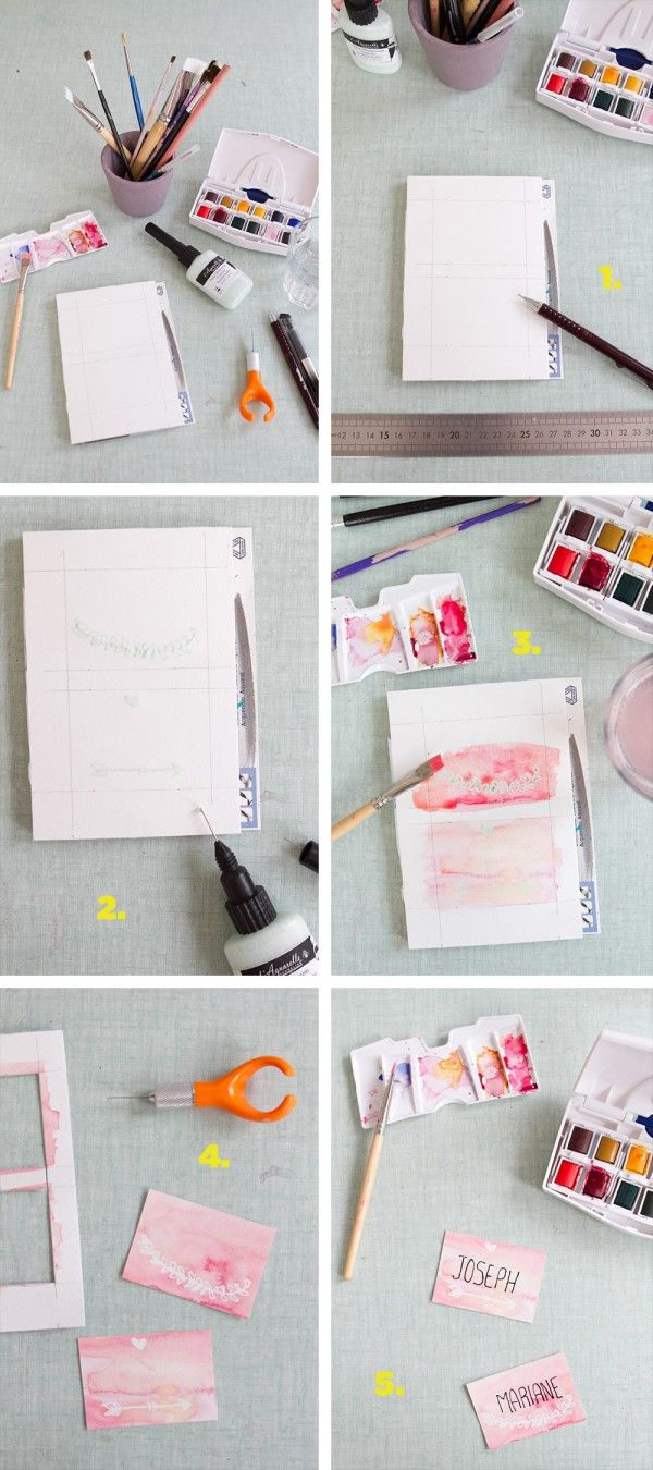Diy watercolour place cards diy or free wedding ideas pinterest